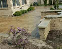 Stone Patio with Shrubs